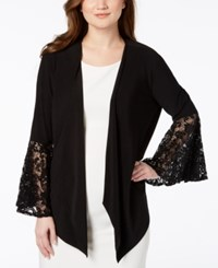 R And M Richards Lace Bell Sleeve Cardigan Black