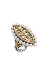 Konstantino Sterling And Cultured Pearl Marquise Ring Silver Gold White