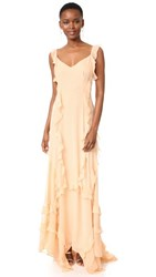 Elizabeth And James Catherine Ruffle Gown Biscuit