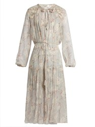 Zimmermann Stranded Long Sleeved Silk Midi Dress Cream Print