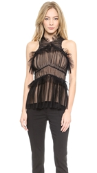 Vera Wang Tulle Draped Halter Top Black