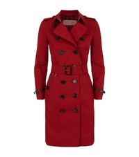 Burberry Leather Trimmed Cotton Gabardine Trench Coat Female Red