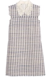 Miu Miu Silk Organza Trimmed Wool Blend Tweed Mini Dress Lilac Gray