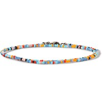 Paul Smith Glass Bead Gunmetal Wrap Bracelet Blue