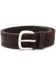 Orciani Classic Stitch Detail Belt Brown
