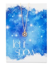 Lydell Nyc Snowflake Necklace With Let It Snow Card Gold