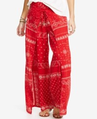 Denim And Supply Ralph Lauren Smocked Wide Leg Pants Red
