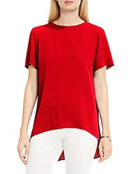 Vince Camuto High Low Hem Textured Blouse Dynamic Red