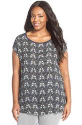 Plus Size Women's Sejour Mixed Media High Low Tee Navy Blue Owl Print