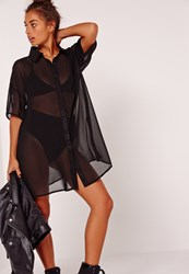 Missguided Chiffon Short Sleeve Shirt Dress Black Black