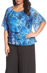 Alex Evenings Plus Size Women's Tiered Print Chiffon Blouse