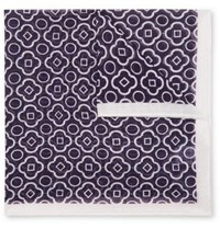 Anderson And Sheppard Printed Cotton Pocket Square Navy