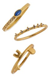 Madewell 'S Shapes And Stones Set Of 3 Rings Vintage Gold