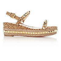 Christian Louboutin Women's Studded Cataclou Platform Espadrille Sandals Gold
