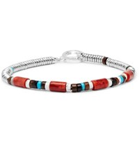 Mikia Silver Plated Multi Stone Bracelet Red