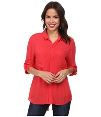 Miraclebody Jeans Christa Collared Blouse W Body Shaping Inner Shell Geranium Women's Blouse Pink
