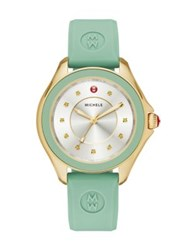 Michele Cape Honey Topaz Goldtone Stainless Steel And Silicone Strap Watch Mint