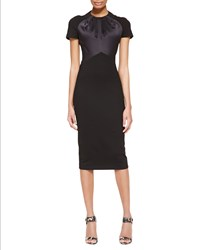 Jason Wu Short Sleeve Satin And Jersey Fitted Dress Black Women's