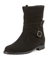 Manolo Blahnik Campocross Belted Mid Calf Boot With Shearling Black