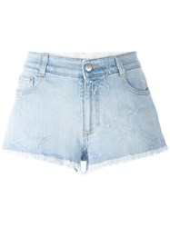 Stella Mccartney Fringed Star Shorts Blue