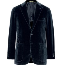 Canali Blue Kei Slim Fit Cotton Velvet Blazer Midnight Blue