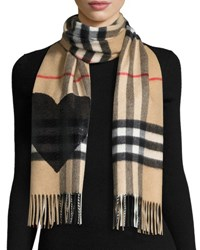 Burberry Giant Check Sequin Heart Cashmere Scarf Camel Black Brown Black
