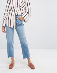 Evidnt High Rise Mom Jeans With Deconstructed Hem Denim Blue