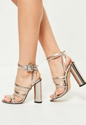 Missguided Silver Clear Multi Strap Block Heeled Sandals