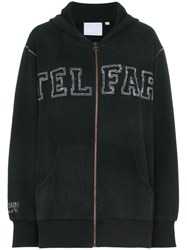 Telfar Telfr Hdy Ls Zip Up Swtr Grphc Os Black