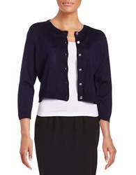 Karl Lagerfeld Cropped Button Front Cardigan Minuit