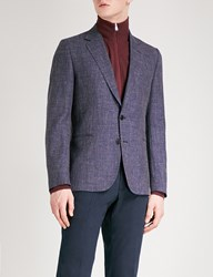 Paul Smith Hopsack Weave Soho Fit Wool And Linen Blend Jacket Navy Red
