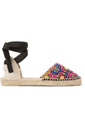 Manebi Mirror Embellished Embroidered Canvas Espadrilles Pink