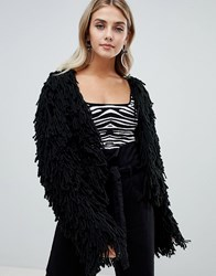 Missguided Shaggy Cardigan In Black