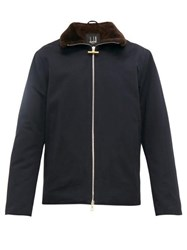 Dunhill Shearling Lined Cotton Faille Jacket Blue