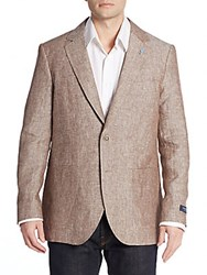 Tailorbyrd Regular Fit Linen Sportcoat Brown