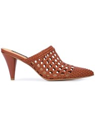 Veronica Beard Jaqlyn Crochet Design Mules Brown