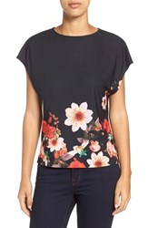 Women's Cece By Cynthia Steffe 'Majestic Floral' Placed Print Cap Sleeve Top