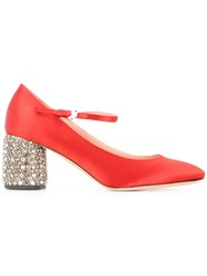 Rochas Embellished Heel Pumps Red