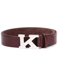 Kiton Logo Buckle Belt Pink And Purple