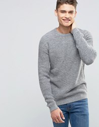 Selected Homme Basket Stitch Knitted Jumper Grey