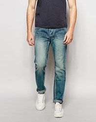 Bellfield Slim Fit Heavy Stone Wash Jeans Blue