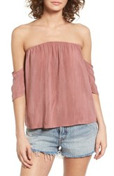 Sun And Shadow Women's Off The Shoulder Washed Top Rust Sequoia
