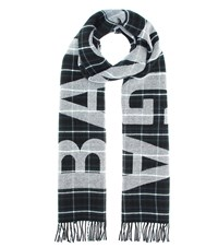 Balenciaga Checked Wool Scarf Black