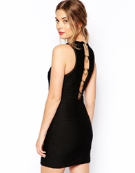 Lashes Of London Bodycon Dress With Heart Back Detail Black