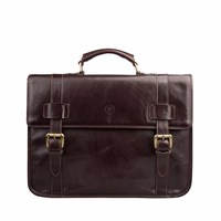 Maxwell Scott Bags The Micheli Mens Leather Backback Briefcase Chocolate Brown