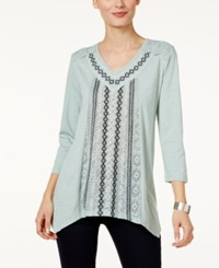 Style And Co Embroidered Handkerchief Hem Top Only At Macy's Aerial Jade