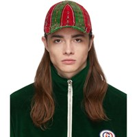 Gucci Green And Red Chenille Horsebit Chain Cap