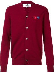Comme Des Garcons Play 'Double Heart' Cardigan Red