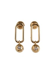 Burberry Crystal Charm Gold Plated Drop Earrings Metallic