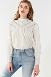 Urban Outfitters Uo Embroidered Chevron Mock Neck Blouse Neutral Multi